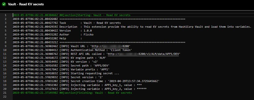Azure DevOps output log