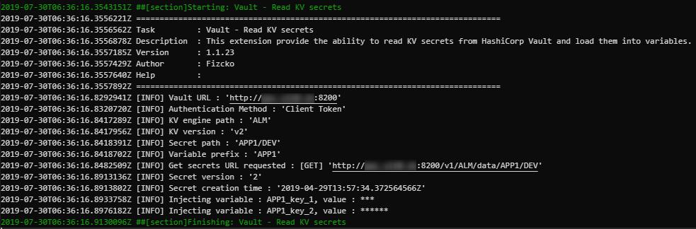 Azure DevOps output log 1